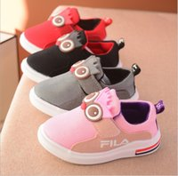 Wholesale Cheap China Kid Shoes - China wholesale cheap 2017 autumn fashion casual cartoon shoes for kids boy girl flat platforms rubber breathable red black pink gray 5.5-9