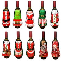 Wholesale Bbq Decoration - Mini Wine Bottle Apron Cover Birthday Wedding Anniversary Christmas Funny Gift Idea For Dinner BBQ Festive Holiday bar Decoration 10 pattern