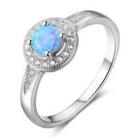 Wholesale Sterling Silver Simulated Diamond - Fashion Jewelry Women Solid 925 Sterling Silver Rings Round Opal Rings Simulated Diamond Engagement Rings for Women