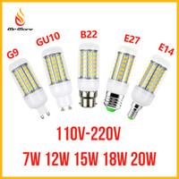 Wholesale E14 Lamp 7w - SMD5730 E27 GU10 B22 E14 G9 LED lamp 7W 12W 15W 18W 220V 110V 360 angle SMD LED Bulb Led Corn light 24LED