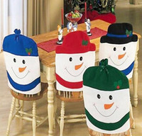 Snowman Family Chair Back Covers Décoration de Noël Chaise Xmas Cap Santa Table de repas Accueil Party Articles décoratifs festifs
