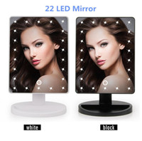 Wholesale Led Rotating Table Lamp - Adjustable Vanity Tabletop Lamp 16 22 LEDs Lighted LED Touch Screen Mirror Makeup Portable Mirror Luminous 360 Rotating Mirror Table mirrors