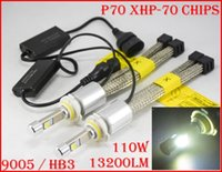 Wholesale hb4 hid lights - 1 Set P70 110W 13200LM 9005 HB3   9006 HB4 Cre LED Headlight Kit XHP70 Chip Fanless SUPER White 6000K Driving Fog Headlamp H4 H8 H11 Rep HID