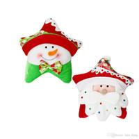 Wholesale Cute Snowman Plush - Almofada Pillow Cover Hot Sale Santa Claus Snowman 100% Cotton Cushion Cute Star Shape Home Office Decor Sofa Back Pillow Christmas Gift