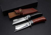 Handmade Damascus patrón fijo cuchillo de la lámina 9Cr18Mov 58HRC madera Handle Tactical camping caza supervivencia Pocket Knife con funda de cuero