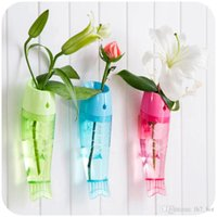 Wholesale fish mounts - Creative fish shaped flower wall vase Wall Mounted Removable Transparent Plastic Flower vase for home decoration garden ornament