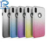 Wholesale Shimmer Sparkle - NEW Arrive Bling 3 in 1 Sparkle Hybrid Soft TPU+Glitter Paper+Hard PC Plastic Case For iPhone 8 8G Gradient Shimmering Armor Hybrid Cover