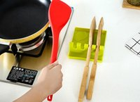 Wholesale heating knife - Fork Spoon Knife Lid Mat Silicone Kitchen Utensil Rest Holder Non Slip Creative Cooking Tools Heat Resistant 4 5kl C R