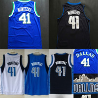 Wholesale man view - Cheap Hot Sale Dirk Nowitzki Jersey #41, White, Blue, Black City View Throwback Stitched Basketball Jersey, Free Shipping