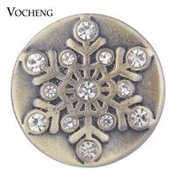Wholesale Antique Christmas - VOCHENG NOOSA Christmas Ginger Snap Jewelry Antique Bronze Crystal Snowflake Snap Charms 18mm Vn-1748
