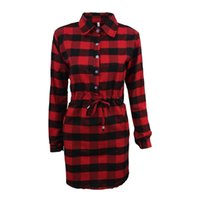 Wholesale Casual Dressess - New Arrival Plaid Shirt Dressess Bow Pencil Dresses Long Sleeve Above Knee Casual Woman Clothing Free Shipping