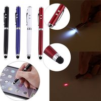 Wholesale Chinese Wholesale Torches - Compatible 4in1 LED Laser Pointer Torch Touch Screen Stylus Ballpoint Pen for iphone Samsung HTC Smart Phone