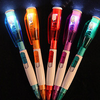 Wholesale Mini Cute Pens - SF_EXPRESS send Mini Cute Korean LED Light Button Portable Ballpoint Pen Stationery School Writing Gift for Kids 0.5mm multi Colors