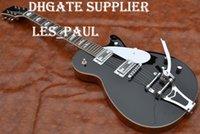 feste körpersignaturgitarre groihandel-Benutzerdefinierte Gre Glossy Black G6128T-GH George Harrison Unterschrift Duo Jet Solid Body E-Gitarre mit Bigby Tremolo Bridge Chrome Hardware