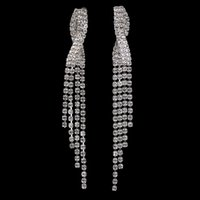 New Arrival Dangle Tassel Earrings Brincos de casamento nupcial de casamento Brincos de prata Full Crystal Statement Jewelry Wholesale E5108
