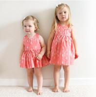 Wholesale Empty Dresses - 2017 Girl's Dresses Kids Clothing summer girls back empty thread dress infant baby Arrow Printed vest skirt 1200