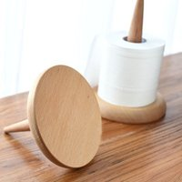 Wholesale Bathroom Toilet Shelves - Creative Natural Wood Toilet Tissue Holder - Kitchen Living Room Toilet Storage Rack Roll Toilet Tissue Paper Stand Household Eco-Friendly