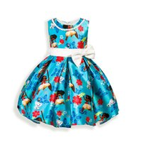 Wholesale Toddler Flower Print Dresses - Wholesale Summer Blue Toddler Girl Dresses Vestidos Princess Dress Girl Clothing flower Party Dress Infant Sleeveless Bow-knot Kids Clothes