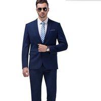 Wholesale best wedding dresses for groom for sale - Latest style men suits blue men wedding suit tuxedos for men solid color one button groom best man dress suits jacket pants
