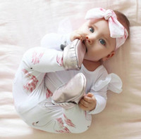 Wholesale Wholesale Animal Print Lace - European Style Ins Baby Autumn Winter Clothes Sets Baby Girl Fly Sleeve Lace Rompers With Matching Swan Print Long Pants Two Piece Sets Kids