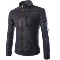 новый мульти-куртка на молнии оптовых-Wholesale- High Quality Hot sales New Men Jacket PU Leather Zippers Multi-pocket Casual Jacket Slim Men Men's motorcycle leather Jacket