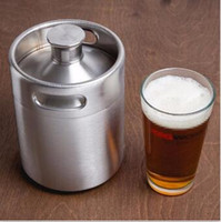 Wholesale Stainless Steel Growler L oz Mini Beer Bottle Barrels Beer Keg Screw Cap Hip Flask Beer Growler Homebrew Wine Pot Barware For Party