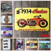 crafts antiques achat en gros de-Moto Vintage Artisanat Enseigne Rétro Métal Peinture Antique Fer Affiche Bar Pub Signes Mur Art Autocollant