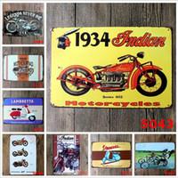 motocicleta artesanato venda por atacado-Motocicleta Do Vintage Artesanato De Lata Sinal Retro Pintura De Metal Antigo Ferro Cartaz Bar Pub Sinais Arte Da Parede Adesivo