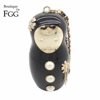 Wholesale Famous Brand Acrylic Porcelain Russian Doll Evening Bag Ladies Chains Shoulder Bag Clutch Purse Women Dinner Handbag Clutches