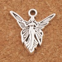 Wholesale angels charms - Solar Angel Wings Charms Pendants 200pcs lot Fashion 20.2x19.3mm MIC Antique Silver Jewelry DIY L194
