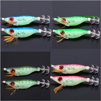 Wholesale squid jigging lures for sale - Squid Hook Big Eyes Fake Bait Glow Wood Shrimp Multi Color Optional Bionic Decoy Double Jigs Dummy Lure Fishing Hooks Tackle g F1