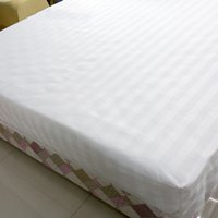 Wholesale White Cotton Sheeting Wholesale - Hotel Bed Sheets 100% Cotton Strips Hotel Room Supplies Pure White Soft Comfort Quality Bedding Sheets 2M Diameter Round Bed