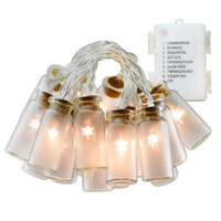 Wholesale Vintage Battery Light - 7.2ft 20 LED Vintage Glass Jar Led String Lights Fairy Lights 3*AA Battery Operated Christmas String lights bottle lights Warm White Light
