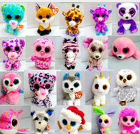 Wholesale Ty Plush Rabbit Toy - Ty Beanie Boos Big Eyes Plush Toys Dolls Owl Mouse Cat Foxy Bear Rabbit Penguin Small Soft Stuffed Toys about 17cm KKA1271