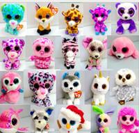 baykuş oyuncakları toptan satış-Ty Bere Boos Büyük Gözler Peluş Oyuncaklar Bebekler Baykuş Fare kedi Foxy Bear Tavşan Penguen Küçük Yumuşak Dolması Oyuncaklar yaklaşık 17 cm KKA1271