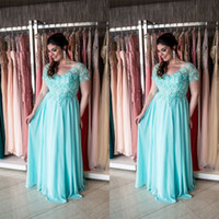 Wholesale Dress For Fats - Aqua Plus Size Mother Of The Bride Dresses 2017 Short Sleeves Maxi Big Sizes Formal Weddings Guest Dress For Fat Women