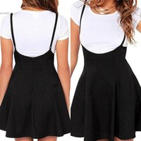 Wholesale Desinger Clothes - 2017 Desinger women clothing mini skirts Casual Solid Strap A-Line High Waist Above Knee Spring Summer Autumn Black Clothing