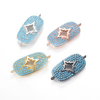 Wholesale 27 Micro - 4 Color Factory Direct Sale Micro Pave Charm Turquoise CZ Micro Pave Charm Pendant Jewelry, ICSP115, Size 27*12.2mm