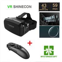 Wholesale Helmet Google - Wholesale- 3D Virtual Glasses Shinecon VR Pro Google Virtual Reality VR Headset Helmet Head Mount vrbox + Bluetooth Remote Control Gamepad
