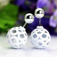 Wholesale Color Ball Earring Studs - Women's Fashion Summer Fashion Jewelry Hot Sales Double Ball Earrings multi color Hollowed Studs Earrings Double Side Earrings Wholesale
