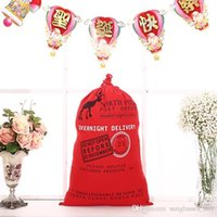 Wholesale 12 Designs Christmas Gifts Sack Drawstring Bag Christmas Large Canvas Santa Claus Drawstring Bag With Reindeers Monogramable PPA271