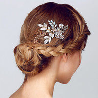 Wholesale Headpiece Rose - European Style Beautiful Wedding Bride Hair Comb Handmade Bridal Headpieces Bridal Accessories Insert Comb Jewelry Free Shipping