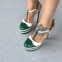 Wholesale Bronze Platform Shoes - Zapatos Mujer Luxury Designer Shoes Woman T-strap Extreme High Heels Gladiator Sandal Stripe Leather Platform Sandals Ladies Summer Shoes