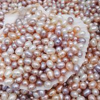 jóias que fazem a oferta do grânulo venda por atacado-Alta qualidade 6-7 MM Oval Pérolas missangas 3 cores branco Rosa roxo Solto Pérolas de água doce para fazer jóias suprimentos barato por atacado