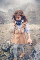 Wholesale Kids Girl Wool Dress - New Autumn Baby Girls Knit Ruffles Dresses Kids Girls Fashion preppy Style Suspender Dress 2017 childrens clothing