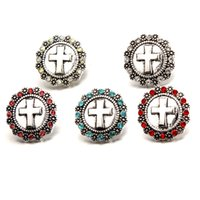 Mix Colors Rhinestone Cross Noosa Chunks Metal Ginger 18mm Snap Botões para Brinco Jóias Findings Atacado