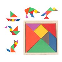 Wholesale Tangram Puzzle Jigsaw - Wholesale- 1Pcs Children's Mental Development Tangram Wooden Jigsaw Puzzle Baby Boys Girls Gifts Wood Educational Toys For Kids CL31