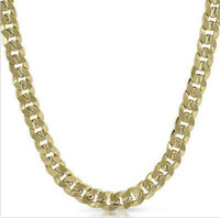 Wholesale Gold Italian Chains - Mens 14k Yellow Gold Plated 24in Italian Cuban Chain Necklace 10 MM