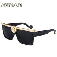 Wholesale Medusa Glasses - Wholesale-2016 Fashion Sunglasses Men Women Medusa Gold 3D Lion Brand Designer Sun Glasses For Ladies Vintage Oculos Female Male RS003