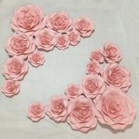 bouquet flores artificiais achat en gros de-20pcs ensemble fleurs en papier géant pour la vitrine mariage décors accessoires flores artificiais pour decora o Mix 20 CM-50 CM